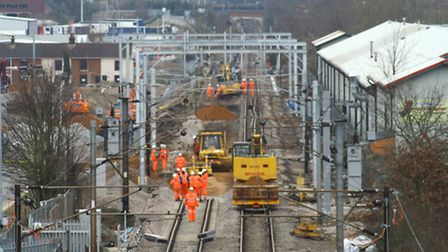 Work underway on the 'chord' project near Europa Way, Ipswich, earlier this year.