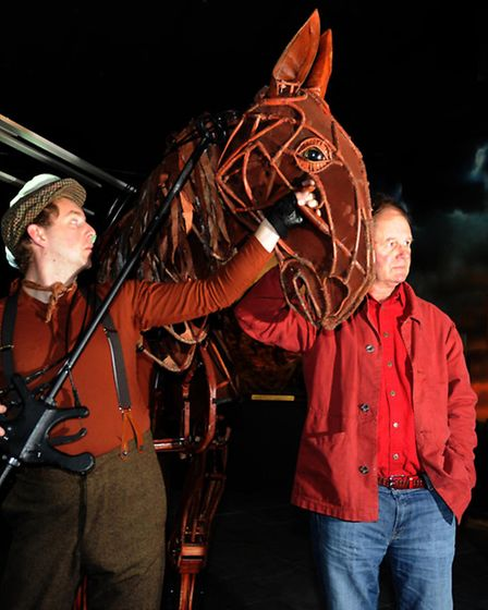 War Horse author Michael Morpurgo (right) with Joey, the large stage puppet from the National Theatr