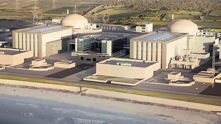 A computer generated image of EDF's plans for a new twin-reactor nuclear power station at Hinkley Po