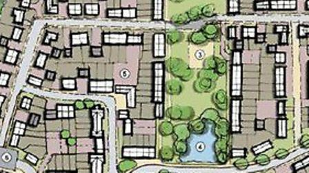 The proposed layout of the homes which could be built on the south side of Walton High Street at Fel