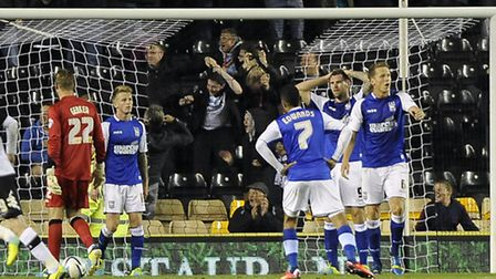 The Ipswich players are left stunned by Derby's equaliser on Tuesday night