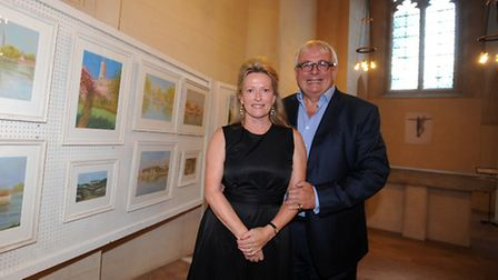 Christopher Biggins is pictured with artist, Wendy Drew, at her charity exhibition in St Edmundsbury