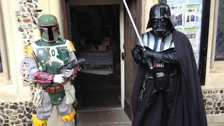 Boba Fett (left) and Darth Vader launched the sci-fi exhibition at Moyse's Hall on Saturday