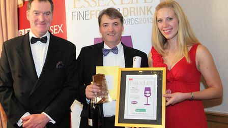 Essex Food and Drink Hero Howard Blackall, centre, with Mike Porter, judge, and Helena Morgan, head