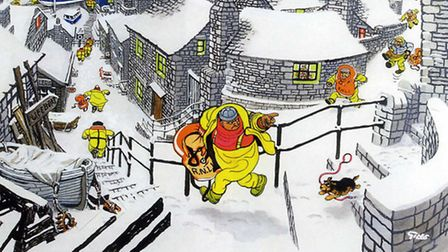 The R.N.L.I christmas card cover 1986, with R.N.L.I. members running towards a lifeboat in a snowy l