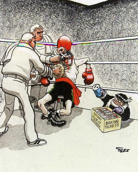 One of Giles' cartoons up for auction showing a boxer seated in corner of a ring, with 'Grandmas' se