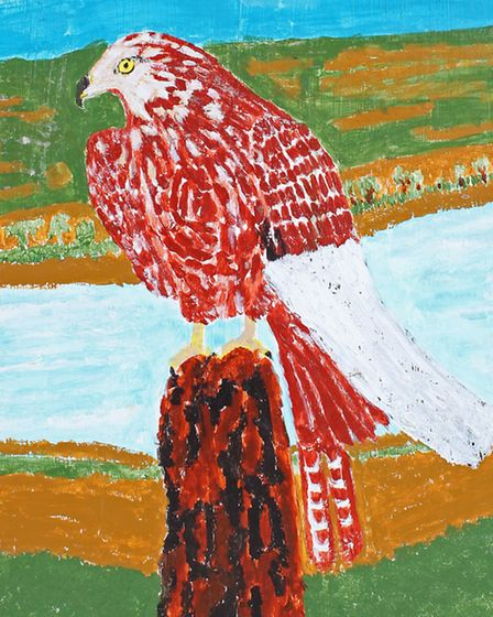 The falcon painting to be auctioned by Lockdales. Photo by Daniel Page