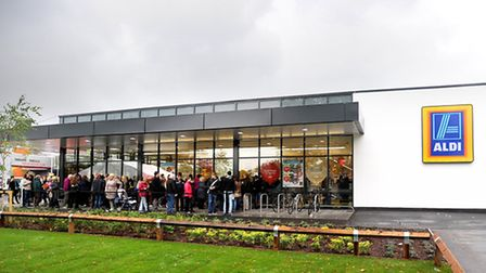 The queue outside the new Aldi store which opened in Bury St Edmunds today.