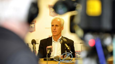 Mick McCarthy faces the media after taking the Ipswich Town job last November