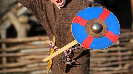 Living history group 'Ynglingas' at West Stow Anglo Saxon Village. Pictured is Alban Murphy.