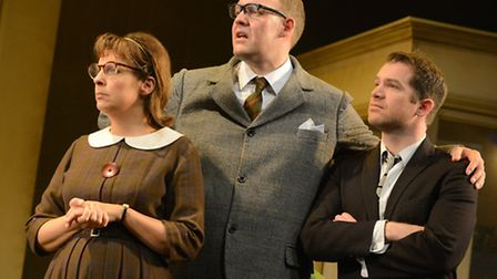 Mel Giedroyc, Justin Edwards and Daniel Boys inThe Opinion Makers, a new musical, being premiered at