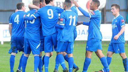 Bury celebrate after Billy Clark's goal on Saturday