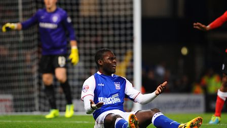 Ipswich Town's Frank Nouble appeals for a penalty late in Friday's game
