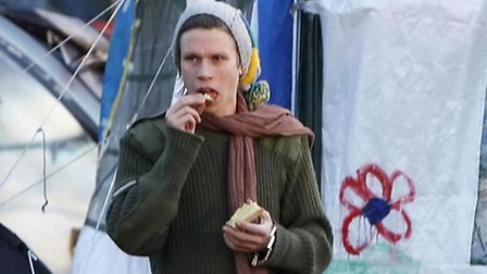 Protester Lauri Love at the Occupy Glasgow camp in George Square, Glasgow.