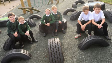 New tyre play park at Benhall St Mary Primary School, Saxmundham. Provided by lottery funding. Left