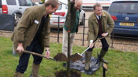 Owner Lord Iveagh, right, plants a tree as Elveden Farms becomes a LEAF demonstration farm