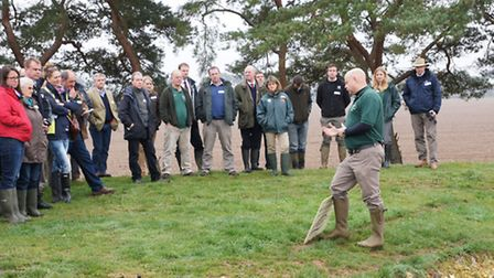 Senior farm manager Andrew Francis addresses guests at a launch event as Elveden Farms becomes a LEA