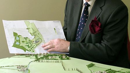 Stephen Bunting with a model of the proposed centre at Horkesley Park