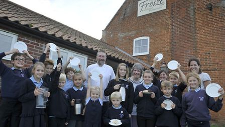 Pupils from Orford Primary School and their teachers joined with David Grimwood Chef proprietor of T