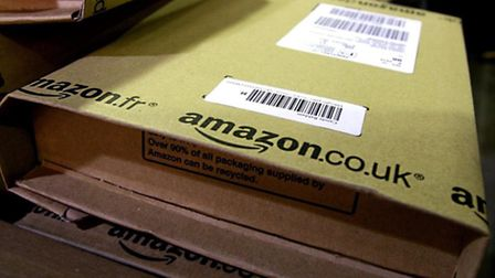 A parcel ready for dispatch at Amazon's UK distribution centre.