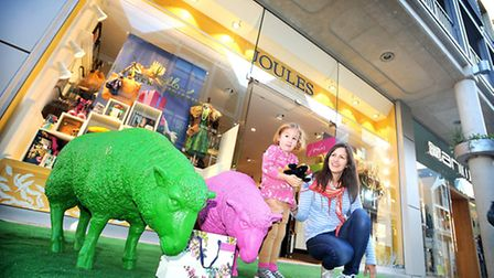 Mother and daughter shoppers, from left, Jess and Rebecca Austin at the opening of the new Joules st