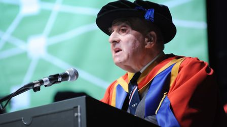 Frank Bright, who has been awarded an honorary doctorate by University Campus Suffolk, speaking at t