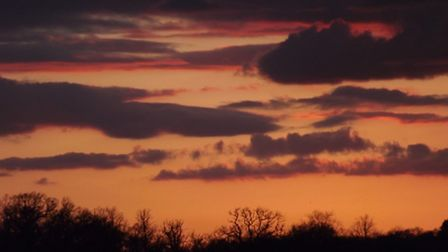 Sunset pictured in Yoxford.