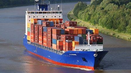 A Team Lines container ship.