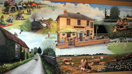 Artist Heath Rosselli has painted an image of the village of Worlington which is now on display in t