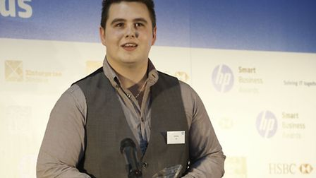 Sam Robson of Industry Education in Music in Ipswich at the HP Smart Business Awards