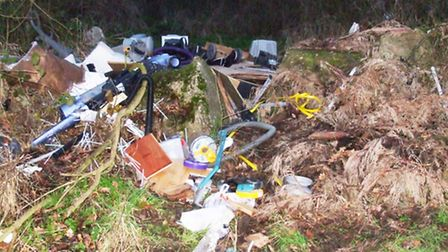 Some of the rubbish that was dumped in a field entrance in Joes Road, Great Cornard