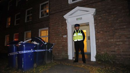 Police at the scene of a suspected murder in Anselm Avenue in Bury.