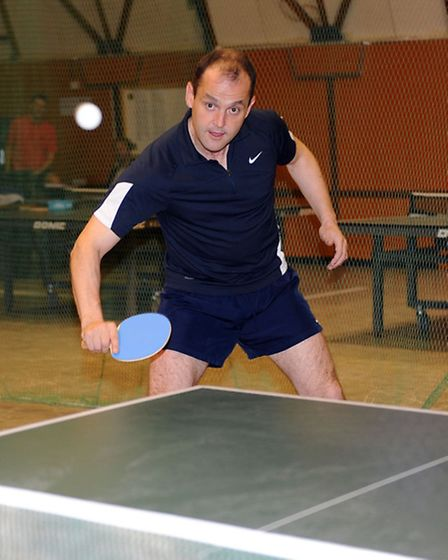 Richard Hutchinson is the English Ping Pong Champion. Richard is pictured in Ipswich.