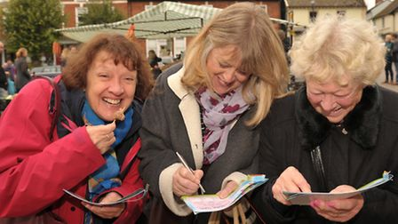 Crowds turned up for the annual Framlingham Sausage Fest. L-R Barbara, Amanda and Sheila Finbow.