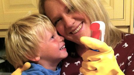 Ellen and her son get to grips with the housework