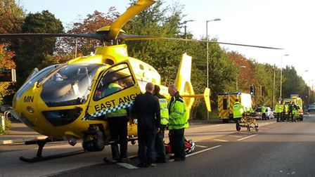 Police and the East Anglian Air Ambulance at the scene of the road traffic collision on the Colchest