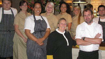 Chris and Hayley Lee, managers of the newly-launched Packhorse Inn at Moulton, with the team