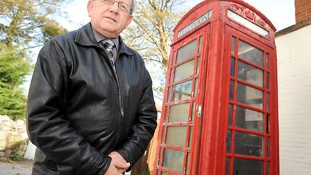 Councillor Michael Sharman is trying to save the red telephone box at Bent Hill, Felixstowe.