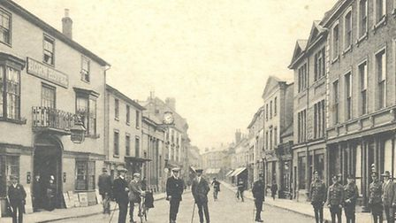 An historic shot of Braintree High Street. Note the men in uniform on the right