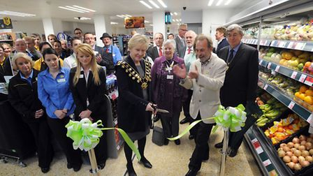 The official re-opening of the refurbished Coop in Aldeburgh. Mayor Sara Fox and John Pendle (presid