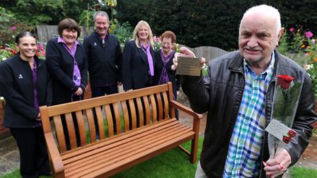 Charlie Dewen has donated a bench to The Firs residential home in Felixstowe. L-R: Chrissy Brown, Lo