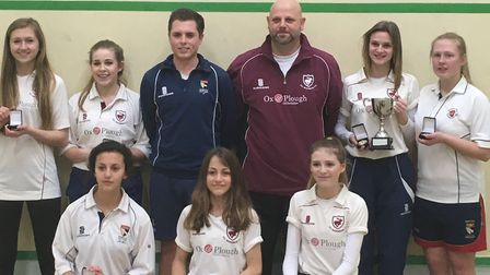 Old Buckenham Ladies with coach Peter Free and competition organiser Jason Reynolds. Picture: NORFOL