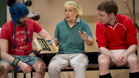 Jumpers for Goalposts at the New Wolsey, Ipswich, until October 17 (l-r) Geoff (Andy Rush), Viv (Viv