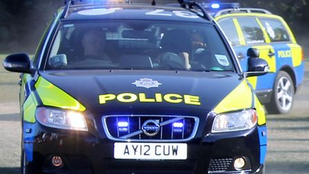 The woman, in her 20s, was walking along Bumpstead Road, Haverhill, when she was clipped by a car, b