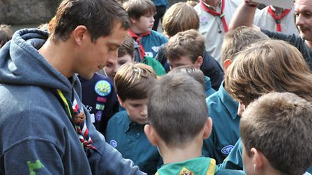 Bear Grylls with Scouts at Languard Fort in Felixstowe
