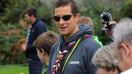 Bear Grylls drops in at the Scout camp at Bradfield Combust.