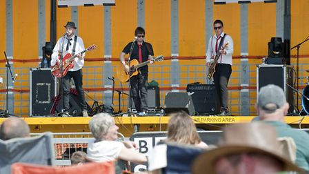 Music on the Green at Martlesham Heath Pictured are Bean Stalk performing on stage in front of a la