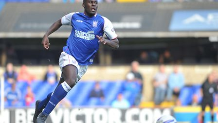 Frank Nouble in action for Ipswich Town.