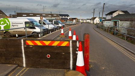Calm before the storm: With half the flood barrier in place at Felixstowe Ferry, Environment Agency