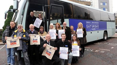 Small Business Saturday supporters with the tour bus during its visit to Ipswich ahead of the local